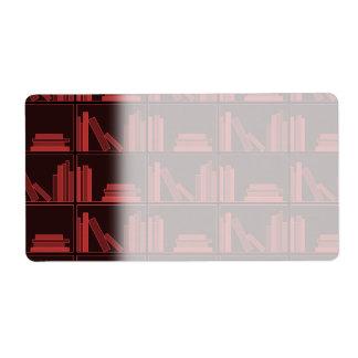 Books on Shelf. Dark Red. Shipping Label