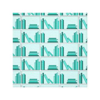 Books on Shelf. Design in Teal and Aqua. Canvas Print