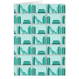 Books on Shelf Design in Teal and Aqua Cards