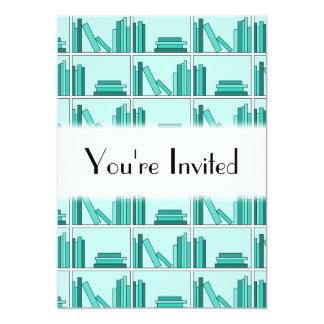 Books on Shelf. Design in Teal and Aqua. Card