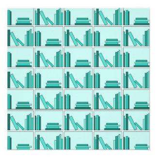 Books on Shelf Design in Teal and Aqua Invitation