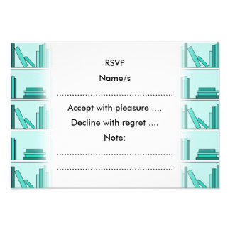 Books on Shelf Design in Teal and Aqua Personalized Invite