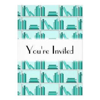 Books on Shelf Design in Teal and Aqua Invites