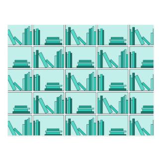 Books on Shelf Design in Teal and Aqua Postcard