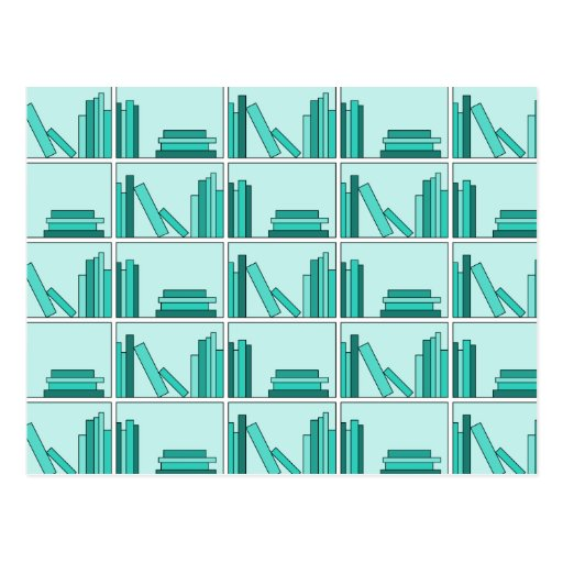 Books on Shelf. Design in Teal and Aqua. Postcard