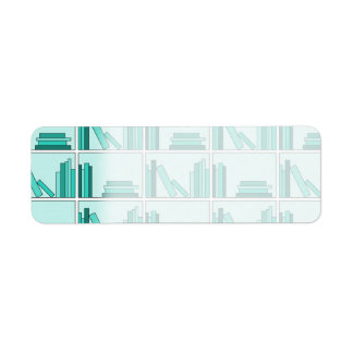 Books on Shelf. Design in Teal and Aqua. Return Address Label