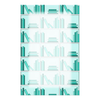 Books on Shelf. Design in Teal and Aqua. Stationery Paper
