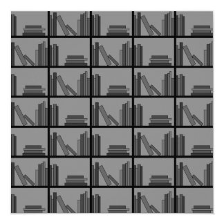Books on Shelf. Gray and Black. 13 Cm X 13 Cm Square Invitation Card