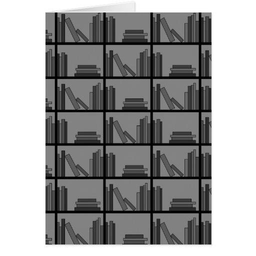 Books on Shelf. Gray and Black. Card