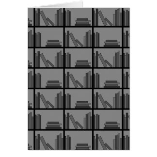 Books on Shelf. Gray and Black. Greeting Card