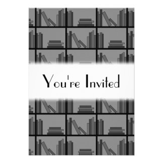 Books on Shelf Gray and Black Custom Invite