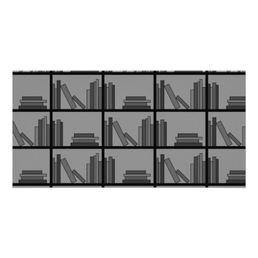 Books on Shelf. Gray and Black. Customized Photo Card