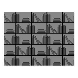 Books on Shelf. Gray and Black. Postcard
