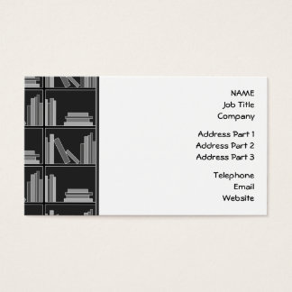 Books on Shelf. Gray, Black and White. Business Card