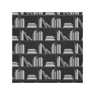 Books on Shelf. Gray, Black and White. Canvas Print