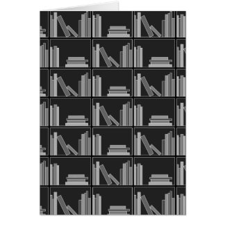 Books on Shelf Gray Black and White Cards