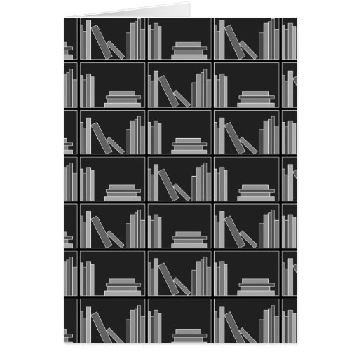Books on Shelf. Gray, Black and White. Cards