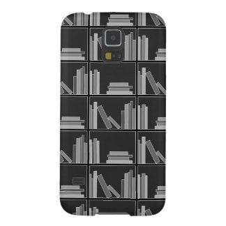 Books on Shelf. Gray, Black and White. Galaxy S5 Cover