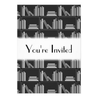 Books on Shelf Gray Black and White Invite