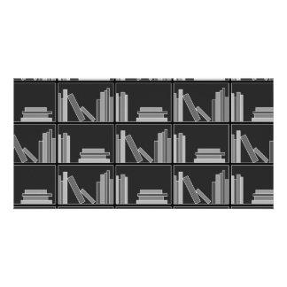 Books on Shelf. Gray, Black and White. Photo Greeting Card