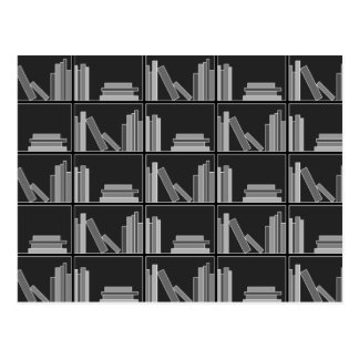 Books on Shelf. Gray, Black and White. Postcard