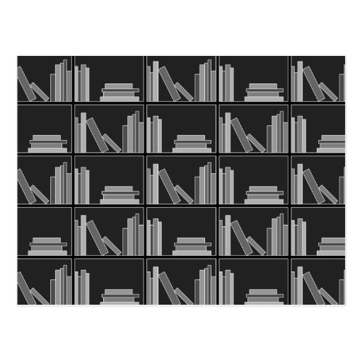 Books on Shelf. Gray, Black and White. Postcard