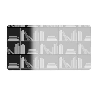 Books on Shelf. Gray, Black and White. Shipping Label