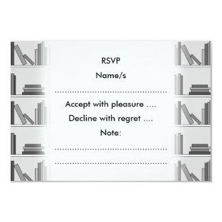 Books on Shelf. Monochrome. 9 Cm X 13 Cm Invitation Card