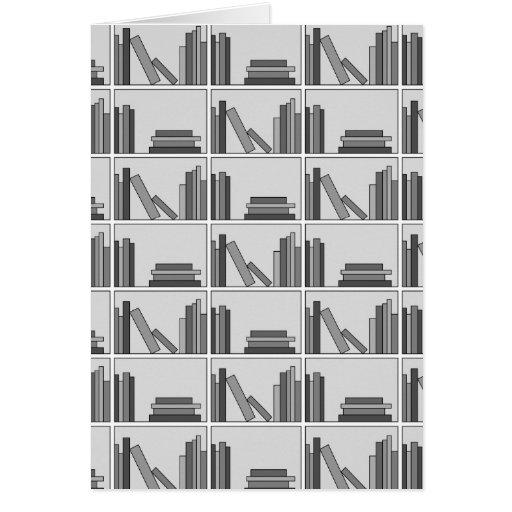 Books on Shelf. Monochrome. Greeting Cards