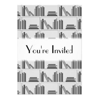 Books on Shelf Monochrome Custom Announcement