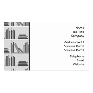 Books on Shelf. Monochrome. Pack Of Standard Business Cards