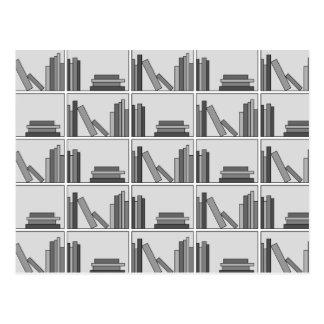 Books on Shelf Monochrome Postcard