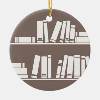 Books on the shelf for reading lover or wise guy christmas ornament