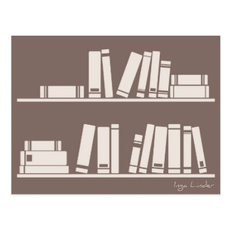 Books on the shelf for reading lover or wise guy postcard