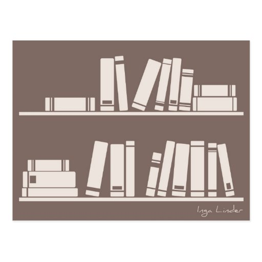 Books on the shelf for reading lover or wise guy post cards