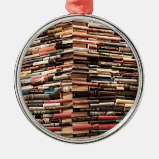Books Silver-Colored Round Decoration
