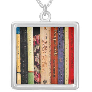 Books Square Pendant Necklace
