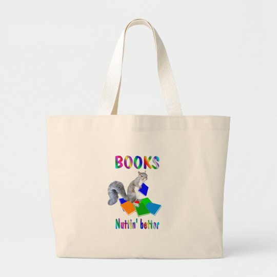 Books Squirrel Large Tote Bag