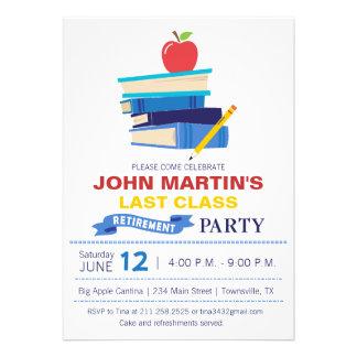 Books Stacked Teacher Retirement Invitation