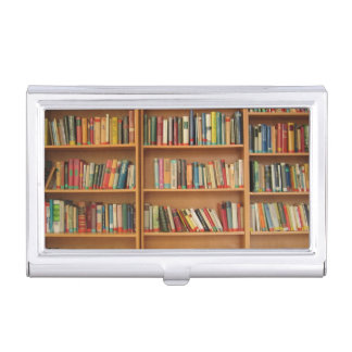 Bookshelf background business card holder