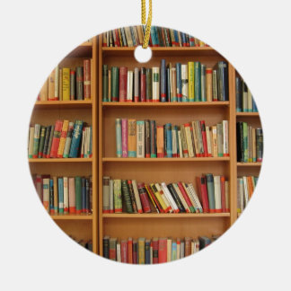 Bookshelf background christmas ornament