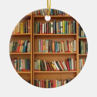 Bookshelf background christmas ornament