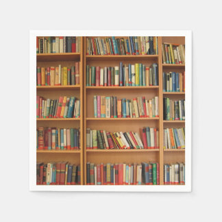 Bookshelf background disposable serviettes