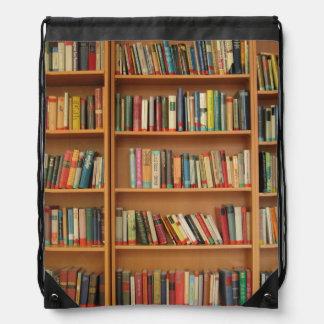 Bookshelf background drawstring bag
