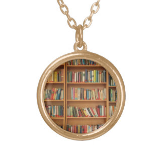Bookshelf background gold plated necklace