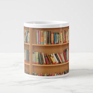 Bookshelf background large coffee mug