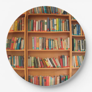 Bookshelf Books Library Bookworm Reading Paper Plate