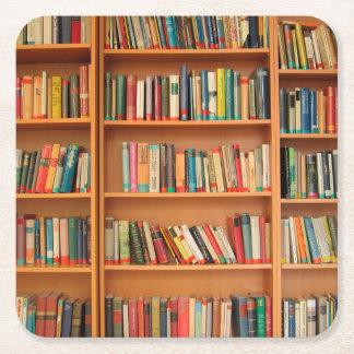 Bookshelf Books Library Bookworm Reading Square Paper Coaster