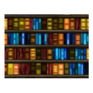 Bookshelf Library. Bookshelves Pattern Postcards