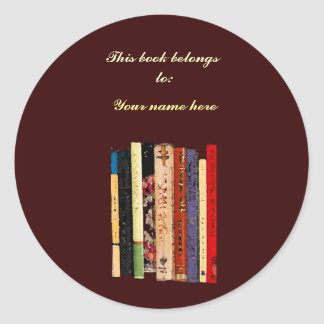 Bookshelves Bookplate Round Sticker